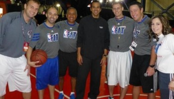 Guillaume Planteau, Antonio Perez, Donnie Arey, Jack Lutzeier et erick spolstra (Heat) - All star game NBA Houston 2013